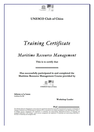 CERTIFICATE OF TRAINING MRM